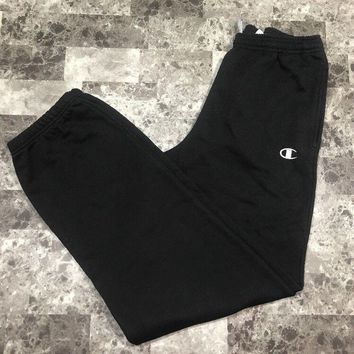 Mens Champion Eco Authentic Jogger Sweatpants Size M Medium Solid Black