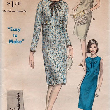 Retro Dress 1960s Vogue Sewing Pattern Mad Men Style Uncut FF Casual Day Dress Dart Fitted High Neck Bust 34