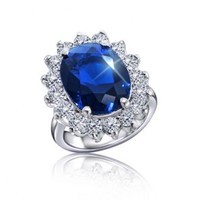Kate Middleton Royal Engagement Ring Oval CZ Sapphire Silver Tone 5ct