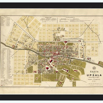 Old Map of Upsala Uppsala, Sweden 1882