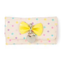 Polka Dot Wallet with Heart Shaped Lock Charm