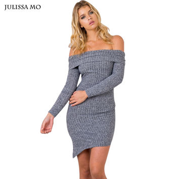Julissa Mo Women Off Shoulder Knitted Autumn Dress Asymetrical Irregular Mini Vestidos Bandage Dress Sexy Club Sweater Dress