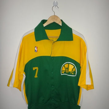 New Year Sale Vintage Authentic Seattle Supersonics Sonics Dennis Johnson NBA Warm Up Shirt #7 Original Vtg Baseball Jersey NBA Rare