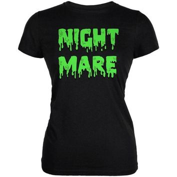 DCCKU3R Halloween Nightmare Horror Slime Dripping Text Juniors Soft T Shirt
