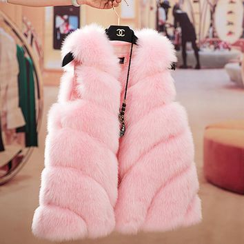 Red Pink Fur Coat Vest Women Winter Warm Outercoat Sleeveless Luxury Faux Fox Fur Jacket Female 2018 New Fashion Casual Coats