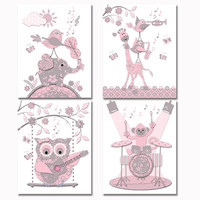 pink grey music nursery art baby girl room wall decor toddler artwork shower decoration gift elephant owl giraffe guitar violin drums poster