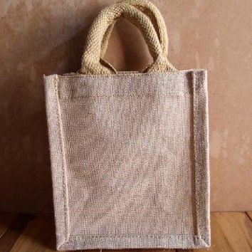 Burlap Gift Tote Bag Cute Party Favor Bag - TJ906