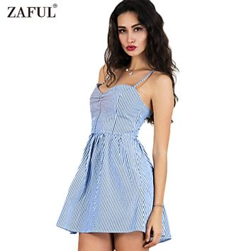ZAFUL Fashion 2017 Blue Striped Black Women Summer Dress Sexy Backless bohemian Casual Beach Feminino Vestidos Vintage Sundress
