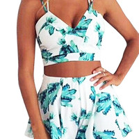 Floral Crop Top and Shorts Set