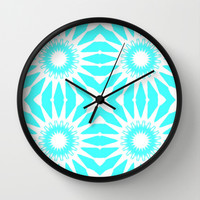 Turquoise & White Pinwheel Flowers Wall Clock by 2sweet4words Designs | Society6