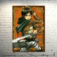 Cool Attack on Titan  1 2 Mikasa Ackerman Anime Art Silk Fabric Poster Print 13x20 32x48 inches Pictures  (click to see more) AT_90_11
