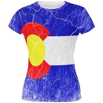 Colorado Vintage Distressed State Flag All Over Juniors T Shirt