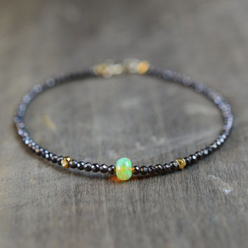 Fire Opal and Hematite Bracelet. Delicate Everyday Gemstone Bracelet. Mixed Gemstone Beaded Bracelet. Opal and Gold Filled. Black Gemstones