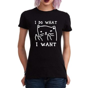I Do What I Want Cat Kitty Middle Finger Sassy Cat Funny Harajuku Tee Shirt Femme Hipster Anime T shirt Casual Tops tshirt Women