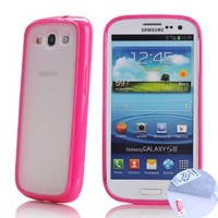 Arbalest® Galaxy S3 Case, [Hybrid Bumper] TPU Hybrid Transparent Matte Back Cover with Sleek Solid Border Protective Case for Samsung S3 GT-I9300- Rose, Gifts 1X Screen Protector