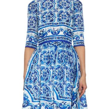 Majolica-print silk-organza dress | Dolce & Gabbana | MATCHESFASHION.COM US