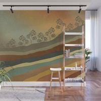 Abstract Retro Landscape 01 Wall Mural by vivianagonzlez