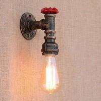 5 style Vintage Steam punk Loft Industrial iron rust Water pipe wall lamps E27 sconce lights for living room bedroom bar