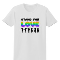 Stand For Love Rainbow Womens T-Shirt
