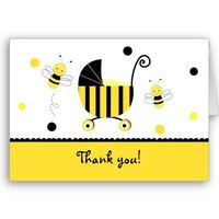 Bumble Bee Baby Shower Folded Thank you note cards from Zazzle.com