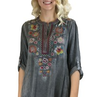 Andree by Unit Embroidered Half Button Top Dark Grey