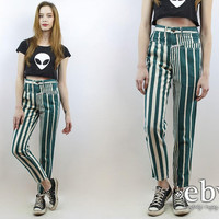 Vintage 80s High Waisted Striped Jeans XS 24 Mom Jeans Skinny Jeans Hipster Jeans High Waisted Jeans High Waist Jeans