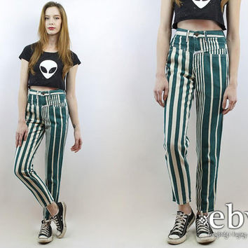 Shop High Waist Striped Jeans on Wanelo