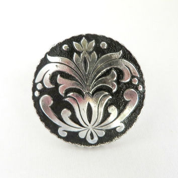 Western Germany Scarf Clip, Black and Silver Tone Clasp
