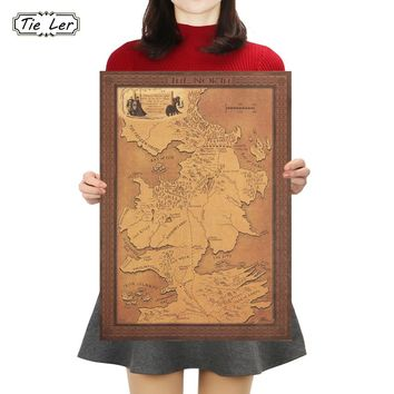 TIE LER Game of Thrones Map Kraft Paper Poster Interior Bar Cafe Vintage Decorative Painting Wall Sticker 42X30cm