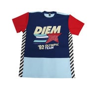 Diem 92 & Better Crew T-Shirt In Navy/Turquoise