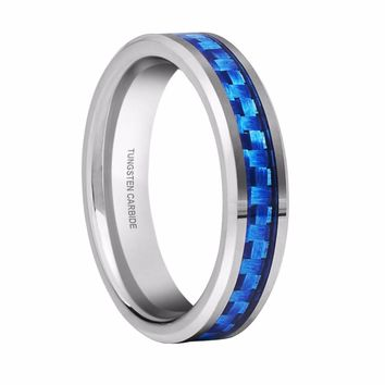 White Tungsten Ring Blue Carbon Fiber Inlay Wedding Bands Couple Rings