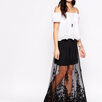 Candela Hattie Sheer Maxi Skirt