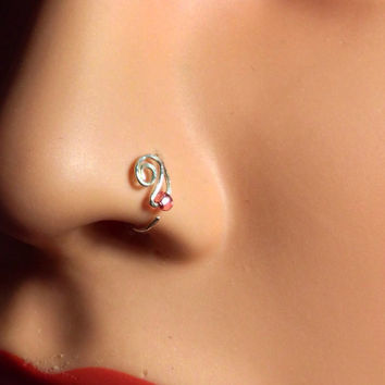 Hammered Paisley Nose Ring with Blush Rose Bead