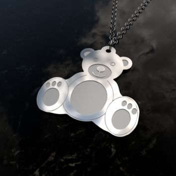 Mr Teddy Bear sterling silver pendant necklace and chain