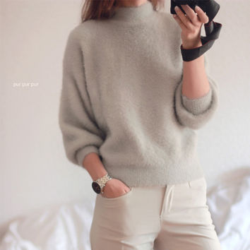 2016 new winter casual Lantern sleeve loose thick pullover female turtleneck solid mohair ladies' sweater women