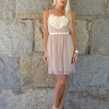 Posey: Nude & Blush Vintage Lace Wedding Bridesmaids Dress with Embellishment