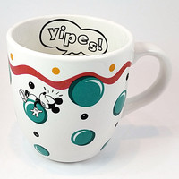 Mickey Minnie Mouse Yipes Coffee Mug Tea Cup Bubbles Disney Pfaltzgraff k308