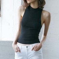 Nollie Nevermore Ribbed Cropped Racerback Tank Top - Womens Tee