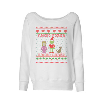 Grinch Welcome Christmas Wideneck Sweatshirt