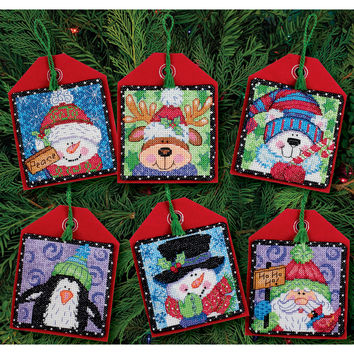 """Christmas Pals Ornaments Counted Cross Stitch Kit-4.5"""""""" Tall 14 Count Set Of 6"""