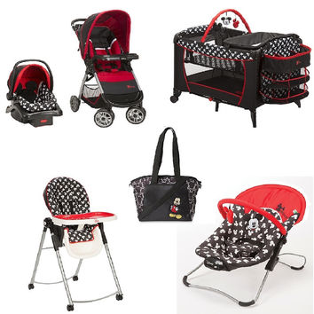 Disney Mickey Baby Gear Bundle,Travel System,Play Yard,Bouncer,Diaper Bag