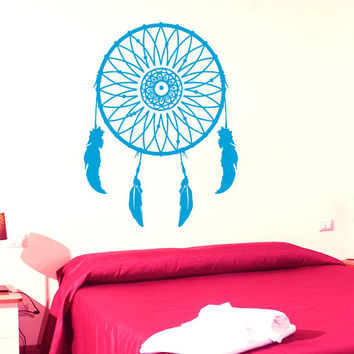 Mandala Wall Decal Dream Catcher Stickers Vinyl Decals Feathers Art Mural Home Decor Flower Interior Design Bohemian Bedding Decor KY50
