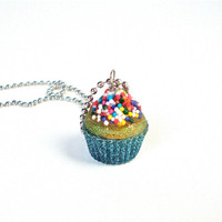 Cute and sweet cupcake necklace - kawaii candy cupcake pendant necklace - colorful, sparkly cupcake necklace by Sparkle City Jewelry