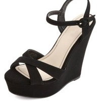 Nubuck Crisscross Platform Wedge Sandals by Charlotte Russe - Black