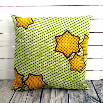 Stars Throw-cushion, pillow cover, African wax print, Scatter cushion, (17 inch) Green and Yellow decorative pillow