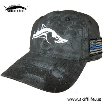 Kryptek Typhon Camo Hat White Snook with Thin Blue Line on American Flag