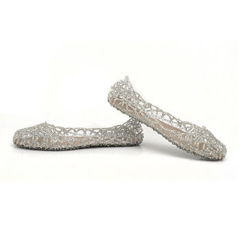 New Summer Women Glass Slippers Hollow hole Flat With Sparkling Croc Golden Sandal Jelly Crystal clog Casual Girls Beach Slide