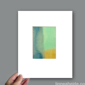 Original Watercolor Painting - ombre stripes - gradient - modern minimal - abstract art - blue green yellow