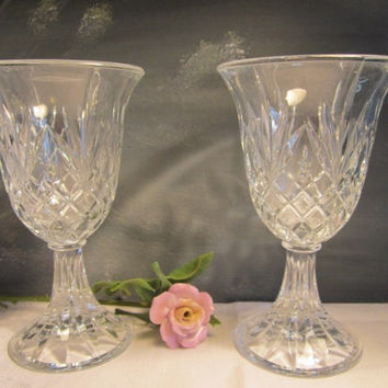2 Crystal Vases Etched Criss Cross Pattern Gift Idea Crystal Footed Vase Centerpiece Set Hostess Gift