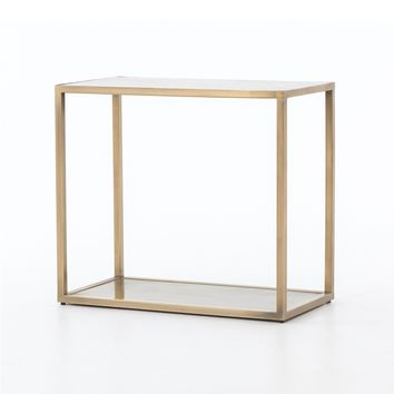 FORTUNE END TABLE ANTIQUE BRASS